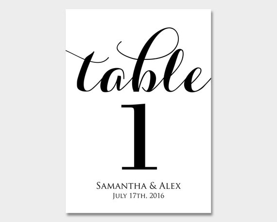 Personalized table numbers wedding table numbers for Table numbers template for weddings