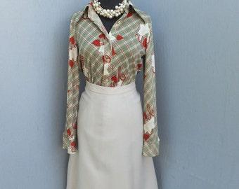 1970s Beige Knit Career Skirt, Secretary Skirt, Academia, Preppy A Line Skirt, Small