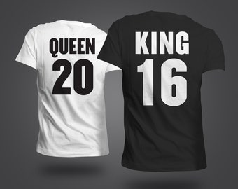 Queen & King Couples Matching Shirt ( Numbers Customizable ) Valentines Day