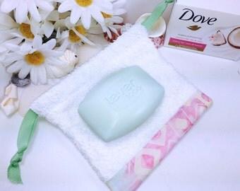 Batik Trimmed Soap Pouch, Green Ribbon Soap Sack, Washcloth Pouch, Soap Saver Bag, Soap Bag