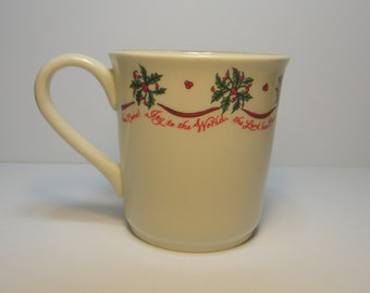 Vintage Joy to the World Christmas Holiday Ceramic Mug by Dicksons, Holly Leaves & Berries