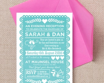 Personalised Turquoise Aqua Teal Papel Picado Mexican Bunting Evening Wedding Reception Invitation with envelope