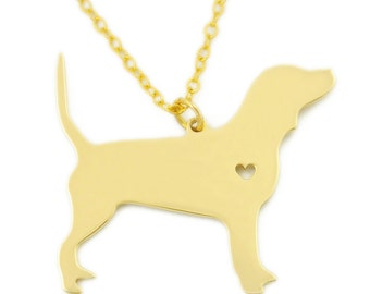 Beagle Necklace , Gold color Dog necklace,  Heart Dog necklace, Dog Pet Jewelry , Pets Charm