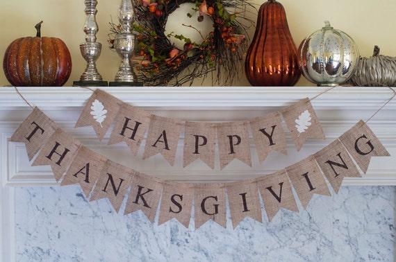 Happy Thanksgiving Burlap Banner Happy Thanksgiving Banner