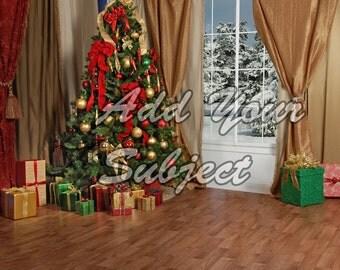 Digital Download Photo Background Backdrop Christmas Scene