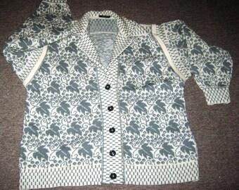 90's Jaquard knit pattern 100% shetland wool cardi/jacket size 16 -18 UK