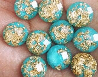 Aqua 12mm Gold leaf faceted resin cabochons -10pcs  (G7:12-671)