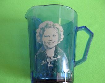 Milk Pitcher Shirley Temple Creamer Hazel Atlas Cobalt Blue USA Vintage