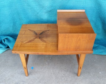 Vintage 1960u0027s Lane Side Table Mid Century Modern Mahogany U0026 Rosewood Petal  Inlay Scandinavian Style Solid