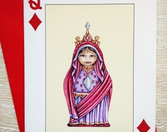 Greeting Card, Playing Card Greeting Card, Queen of Diamonds Card, Diamonds Greeting Card, Playing Card, Note Card, Fine Art Card Queen Card
