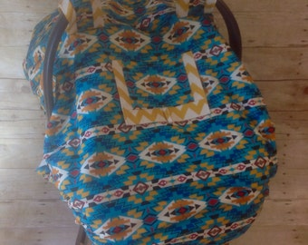 Turquoise Multi-Color Native Print Car Seat Canopy/Foot Muff Set