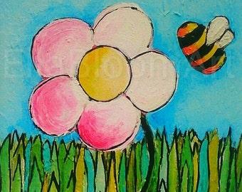fun flower print, kids flowerprint, kids print, childrens fun print, bee print, childrens bee print, flower garden print  for kids,