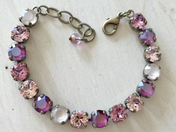 Vintage Romance Rose, Red & Ivory Crystal Brass Oxide Bracelet