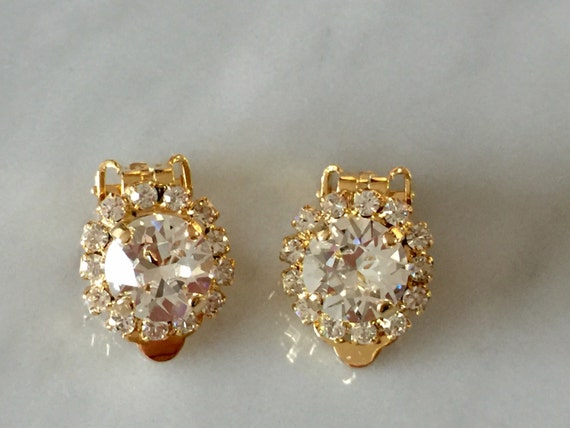 Swarovski Crystal Halo Clip On Earrings, Yellow Gold