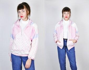 90s Windbreaker, Geometric Print Windbreaker, Abstract Print Jacket, Pastel Lightweight Jacket, 80s Windbreaker Medium, Pink Windbreaker