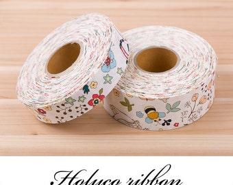 "Cartoon Forest Linen Ribbon / 1"" (25mm), 1.5"" (40mm) / made in korea."