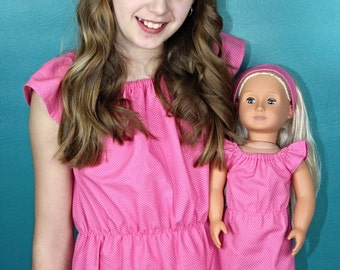 Size 10/12 Large Girl and Doll Matching Dresses - Dollie and Me Clothes- 18 Inch Doll Clothes- 15 Inch Doll Clothes - Matching Girl and Doll