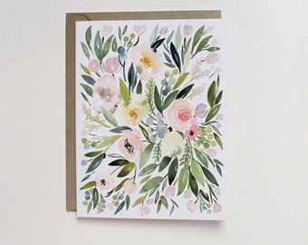 Watercolor Blush Floral Cluster A2 Greeting Card