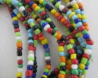 Mixed Ghana Glass Beads - 6 Strands (4x3mm) [64758]