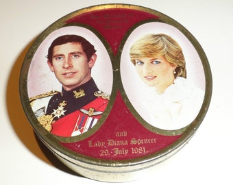 Smith Kendon Travel Sweets Vintage Empty Tin Prince Wales Lady Diana Marriage 1981