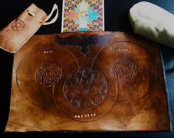 Rune Casting Mat - Genuine Leather - Past Present Future