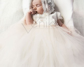Baptism dress Tulle gown for the baptism or other ceremony in the color antique white and very delicate pink-wedding baby dress