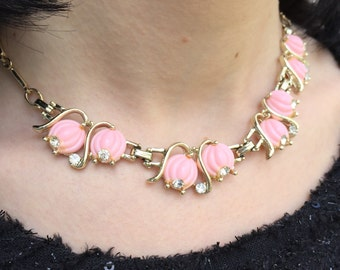 CHOKER 1950s Thermoset PINK Coral Colored Lucite and Rhinestone Goldtone  Link NECKLACE - Lily Of The Valley Design Vintage  Valentines Day