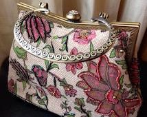 Tapestry Handbag Vintage Style Bag Satin Lined Bag Bead Bag Art Deco Style Bag Leko London Bag