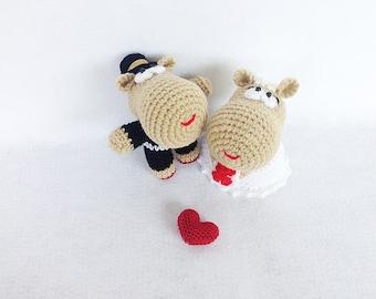Cake Toppers - Hippopotamus Wedding Cake Topper -  Wedding decor - Bride and Groom Cake Topper - Crochet Cake Topper