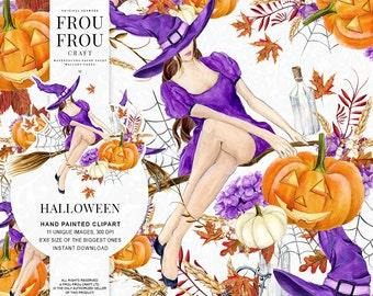 Halloween Clipart Pumpkin Clip Art Witch Hat Seasonal DIY Pack Fall Autumn Watercolor Illustration Girly Broom Broomstick Purple Orange