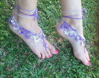 Lace Crochet Barefoot Sandals, Footless Crochet Sandals, Womens Beach Shoes, Foot Jewelry, Boho Sandals - READY TO SHIP!