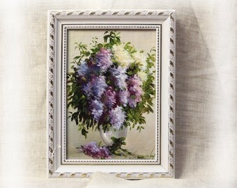 Oil Picture Lilac bouquet Painting oil on canvas Modern Flowers Still Life Painting Framed painting Miniature Painting Oil art