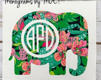 Lilly Pulitzer  Elephant Monogram decal /  Elephant Monogram Car decal / Yeti decal / Laptop decal / Tumbler Decal