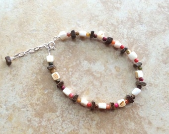 Wood and Beads Anklet, Wooden Beads Anklet, Boho Anklet, Rustic Jewelry, Bohemian Ankle Bracelet, Women Anklet, Teen Jewelry