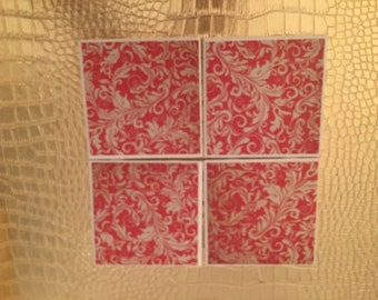 set of four handmade red and white floral coasters