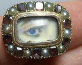 Georgian Lover's Eye in 15k Gold , Garnets, Pearls
