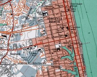 Virginia Beach, Virginia Beach Print,  Beach Decor, Virginia Beach Art, Wall Art, Vintage Map Print, Virginia Beach Map