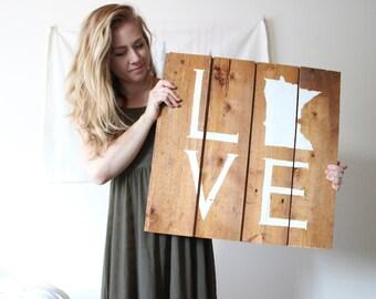 MN Love, original reclaimed wood art