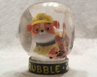 Personalized Snowglobe - Paw Patrol Snow Globe - Rubble Snowglobe