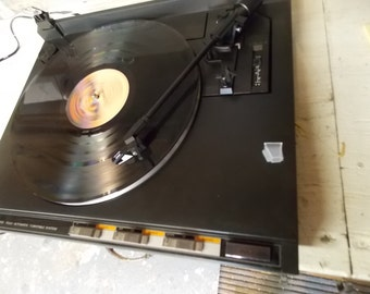 Vintage JVC L-F130B Black turntable in original box with new Audio-Technica AT92ECD stylus
