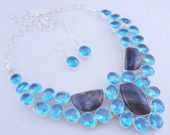Sodalite-Blue Topaz Stone .925 Sterling Silver Handmade Jewelry Necklace (f-403)