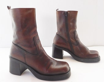 SQAURE TOE Brown Women clunky chunky stacked heel ankle square toe boots ladies size 8