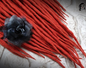 "Wool Dreadlocks Dreads "" Raspberry Sorbet "" DE"
