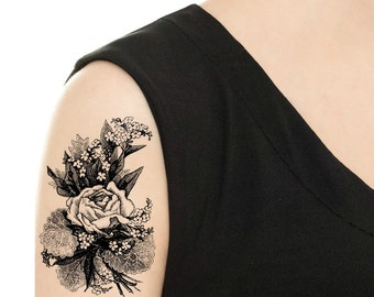 TEMPORARY TATTOO - Vintage Rose Tattoo - Various Patterns