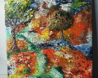 Abstract Oil Painting Trees Painting, Abstract Painting, Small Canvas Art, Canvas Painting, Abstract Art, Impasto Painting, small Wall Art