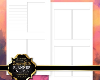 Planner Printable Insert Refill Undated No Days WO2P Personal Size - Filofax Kikki K ColorCrush EC Size Oversized Full Boxes