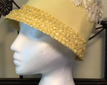 Vintage Straw Bucket hat yellow with floral accents