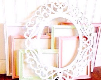SALE Picture Frames / Nursery Frames / Pink Frames / White Frames /Vintage Style Frames / Picture Frames / Gallery Wall Frames / Shabby Chic