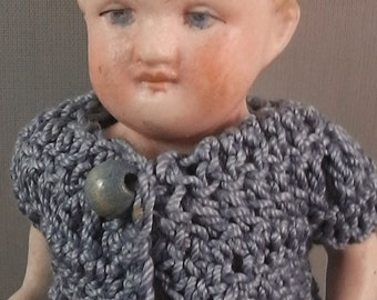 antique all bisque doll, made in Germany, 1890/1900 , dressed