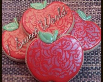 Apple themed sugar cookies